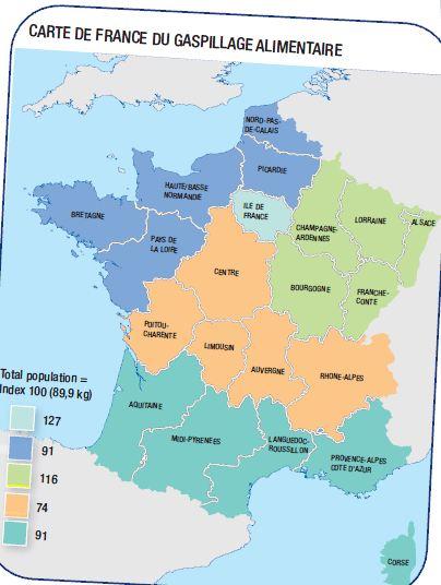 Gaspillage alimentaire - la carte de France du gaspillage alimentaire - La vie des entreprises