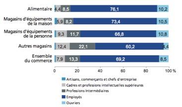 Commerce - la répartition des CSP des salariés - La vie des entreprises
