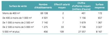 Commerce - la répartition des commerces par surface de vente dans les magasins d'équipements de la maison - La vie des entreprises