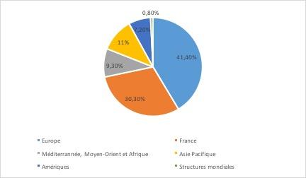 Entreprise AccorHotels - répartition du chiffre d'affaires par zone géographique - La vie des entreprises